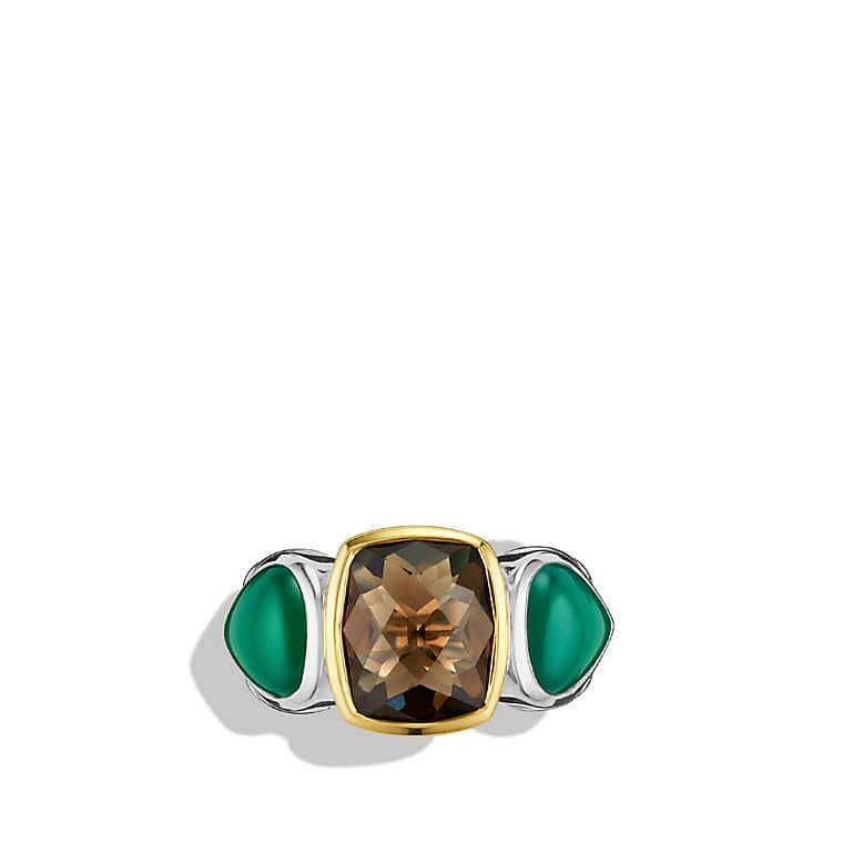 Viridian Three-Stone Ring with Smoky Quartz, Green Onyx, and Gold