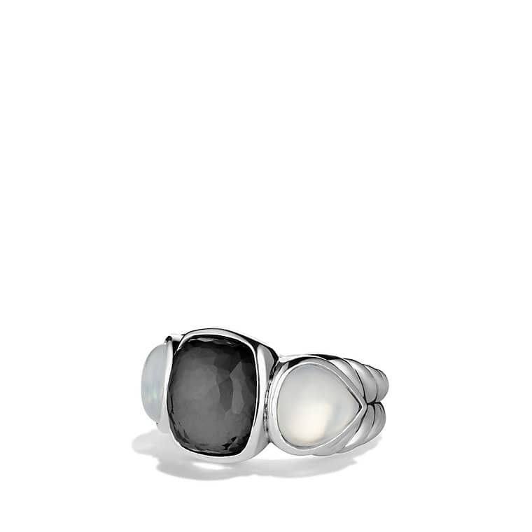 Grisaille Three-Stone Ring with Crystal and Moon Quartz