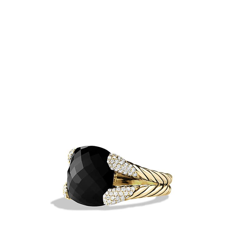 Color Cocktail Ring with Black Onyx and Diamonds in Gold