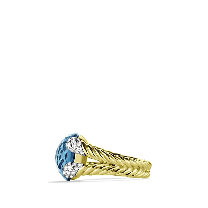 Color Cocktail Ring with Hampton Blue Topaz and Diamonds in Gold