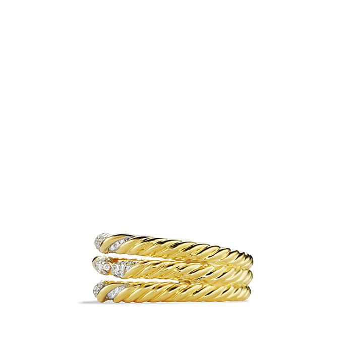 Willow Three-Row Ring with Diamonds in Gold