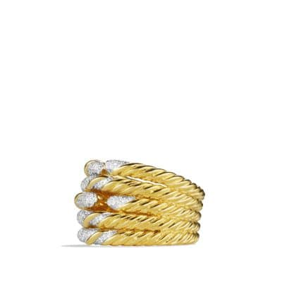 Willow Five-Row Ring with Diamonds in 18K Gold