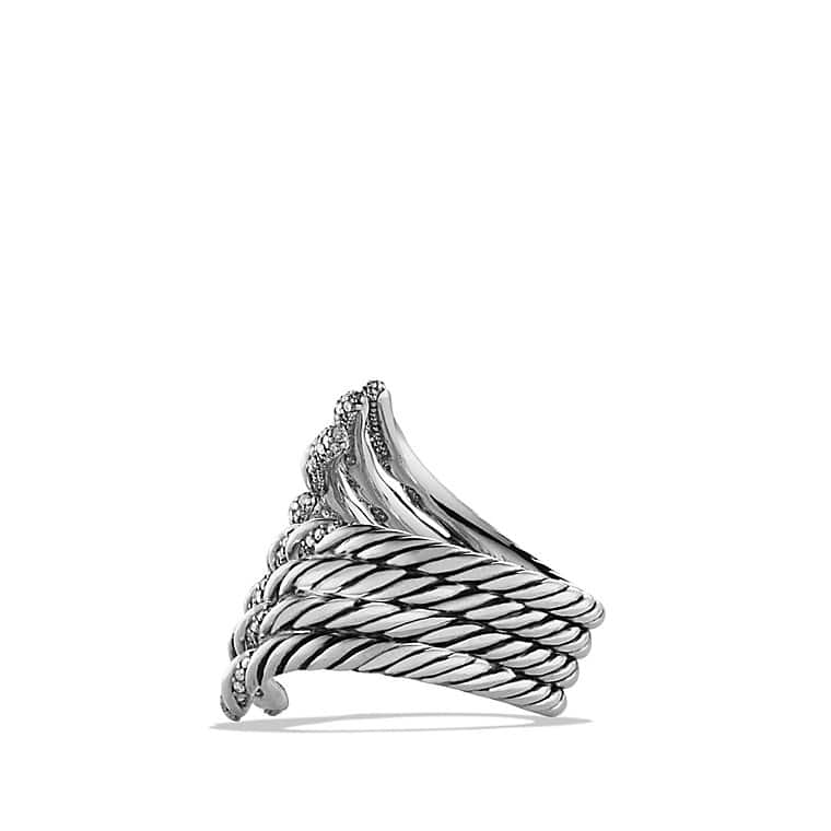 Willow Open Four-Row Ring with Diamonds