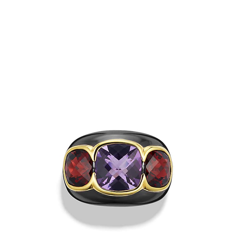 Renaissance Three-Stone Ring with Amethyst, Garnet, and Gold