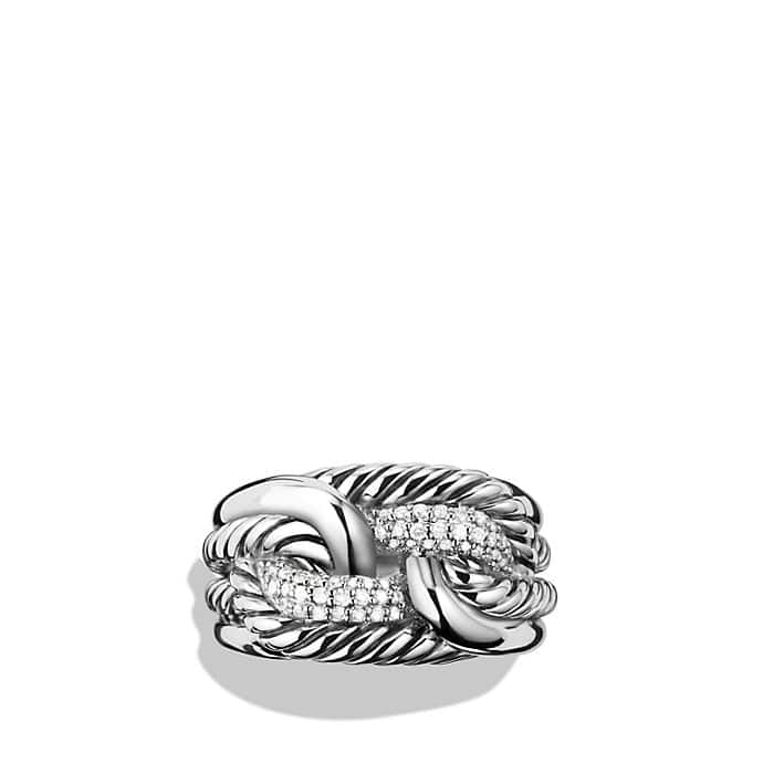 Labyrinth Ring with Diamonds