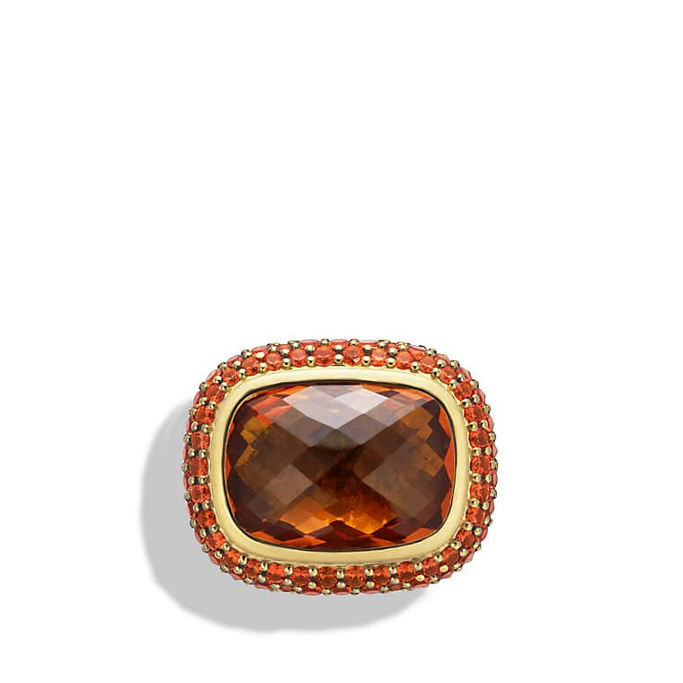 Waverly Ring with Madeira Citrine and Orange Sapphires in Gold
