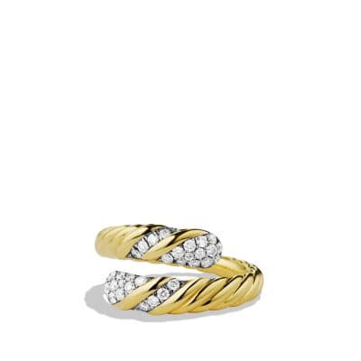 Willow Open Single-Row Ring with Diamonds in 18K Gold