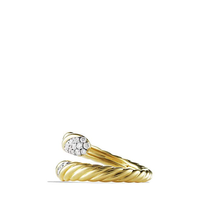 Willow Open Single-Row Ring with Diamonds in Gold