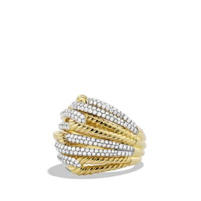 Labyrinth Dome Ring with Diamonds in 18K Gold