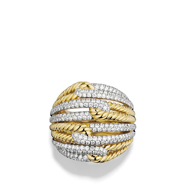 Labyrinth Dome Ring with Diamonds in Gold