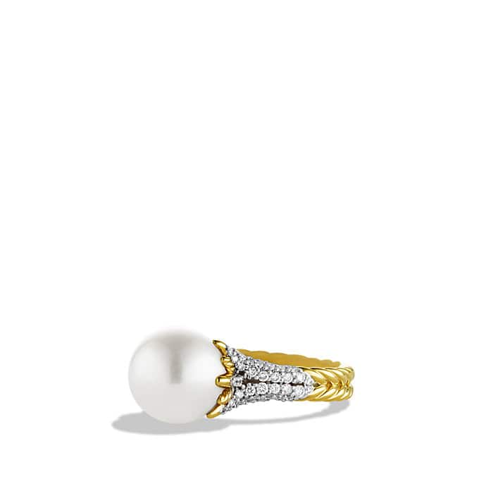 Starburst Pearl Ring with Diamonds in Gold