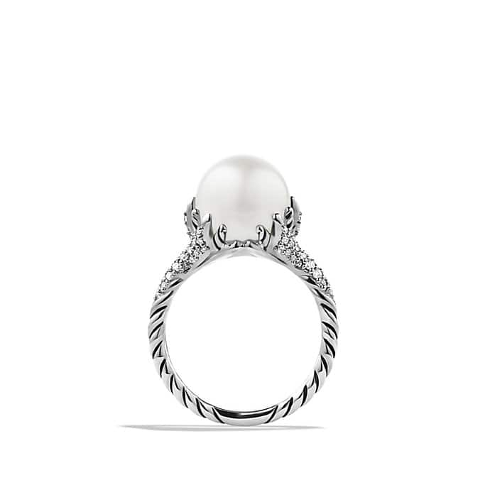 Starburst Pearl Ring with Diamonds