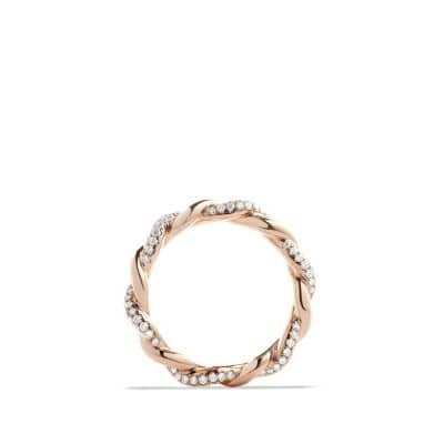 DY Wisteria Twist Ring with Diamonds in 18K Rose Gold, 4mm
