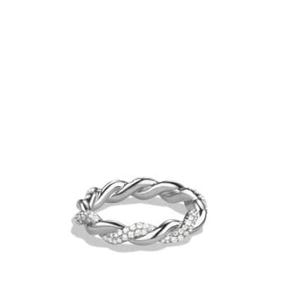 Wisteria Twist Ring with Diamonds in White Gold