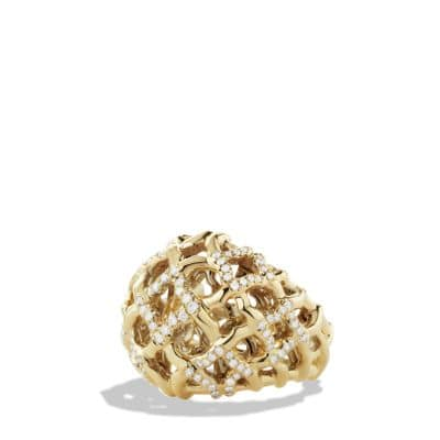 Venetian Quatrefoil Dome Ring with Diamonds in 18K Gold