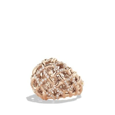 Venetian Quatrefoil Dome Ring with Diamonds in 18K Rose Gold