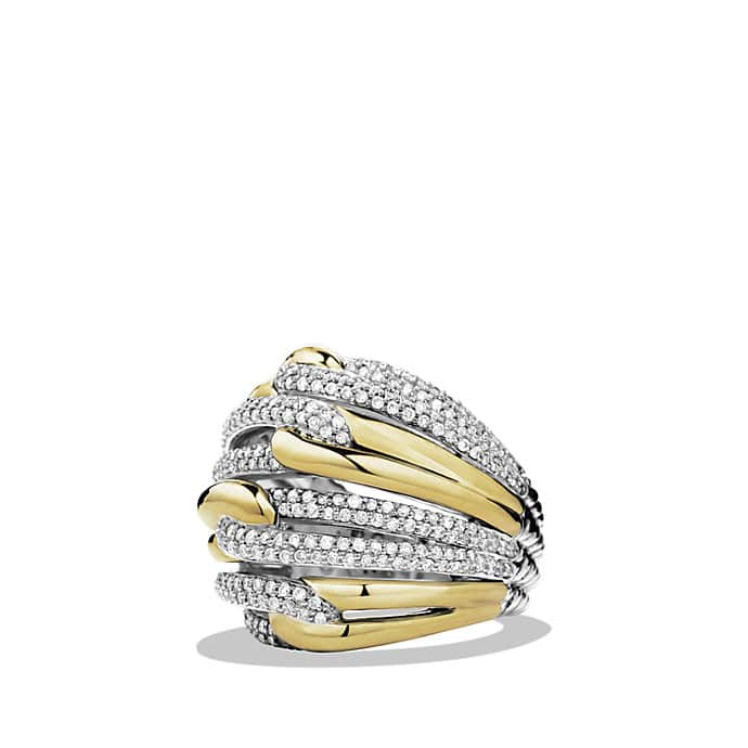 Labyrinth Dome Ring with Diamonds and Gold
