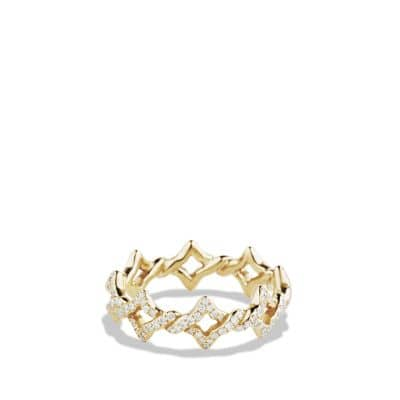 Venetian Quatrefoil Stacking Ring with Diamonds in 18K Gold