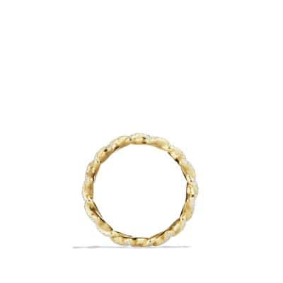 Venetian Quatrefoil Stacking Ring with Diamonds in Gold