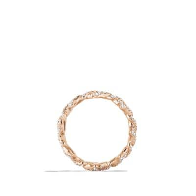 Venetian Quatrefoil Stacking Ring with Diamonds in 18K Rose Gold