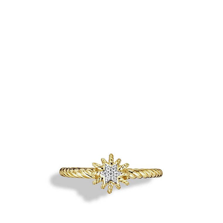 Small Starburst Ring with Diamond in Gold