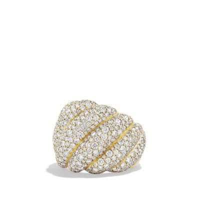 Hampton Cable Ring with Diamonds in 18K Gold