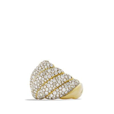 Hampton Cable Ring with Diamonds in Gold