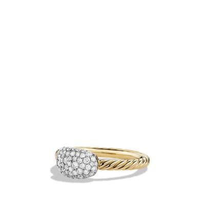 Petite Pavé Cushion Ring with Diamonds in 18K Gold