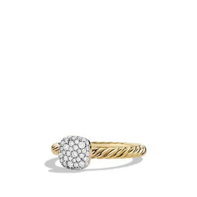 Petite Pavé Ring with Diamonds in Gold