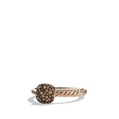 Petite Pavé Ring with Cognac Diamonds in Rose Gold