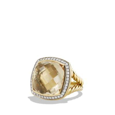 Albion Ring with Champagne Citrine and Diamonds in 18K Gold