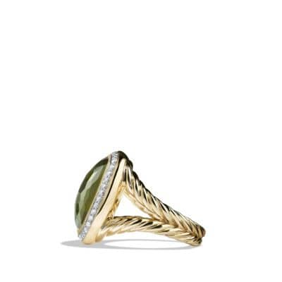 Albion® Ring with Green Orchid and Diamonds in 18K Gold