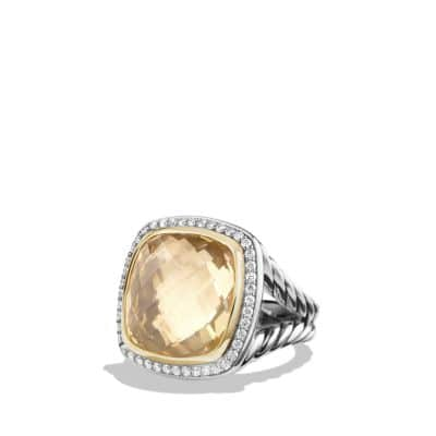 Albion® Ring with Champagne Citrine and Diamonds with 18K Gold, 17mm