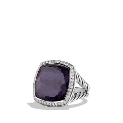 Albion® Ring with Black Orchid and Diamonds, 17mm
