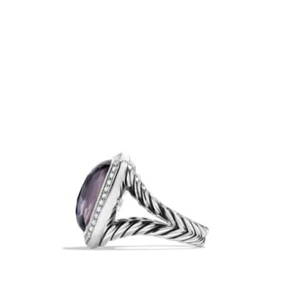Albion Ring with Black Orchid and Diamonds, 17mm