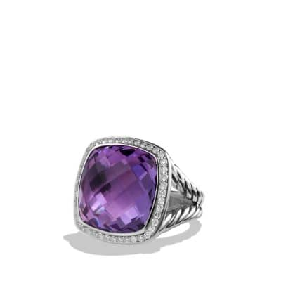 Albion Ring with Amethyst and Diamonds, 17mm