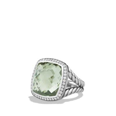 Albion® Ring with Prasiolite and Diamonds, 17mm