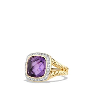 Albion® Ring with Amethyst and Diamonds in 18K Gold