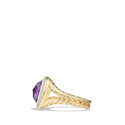 Albion Ring with Amethyst and Diamonds in 18K Gold