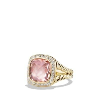 Albion Ring with Morganite and Diamonds in 18K Gold