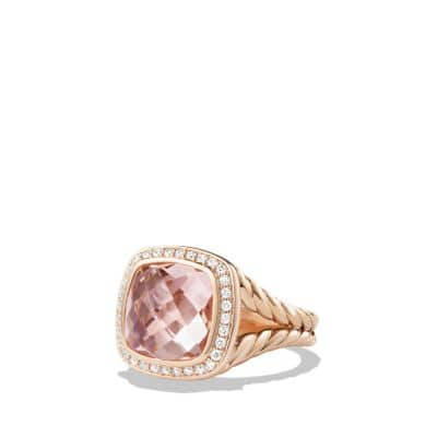Ring with Morganite and Diamonds in 18K Rose Gold