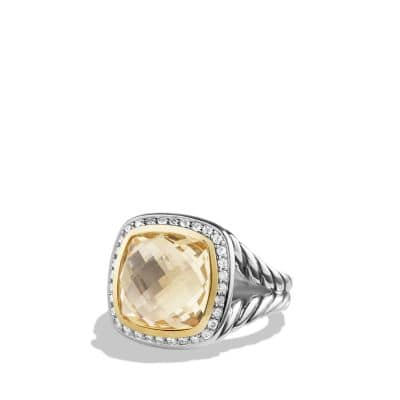 Albion® Ring with Champagne Citrine and Diamonds with 18K Gold