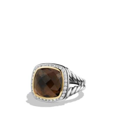 Albion Ring with Smoky Quartz and Diamonds with 18K Gold