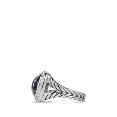 Albion Ring with Black Orchid and Diamonds, 11mm