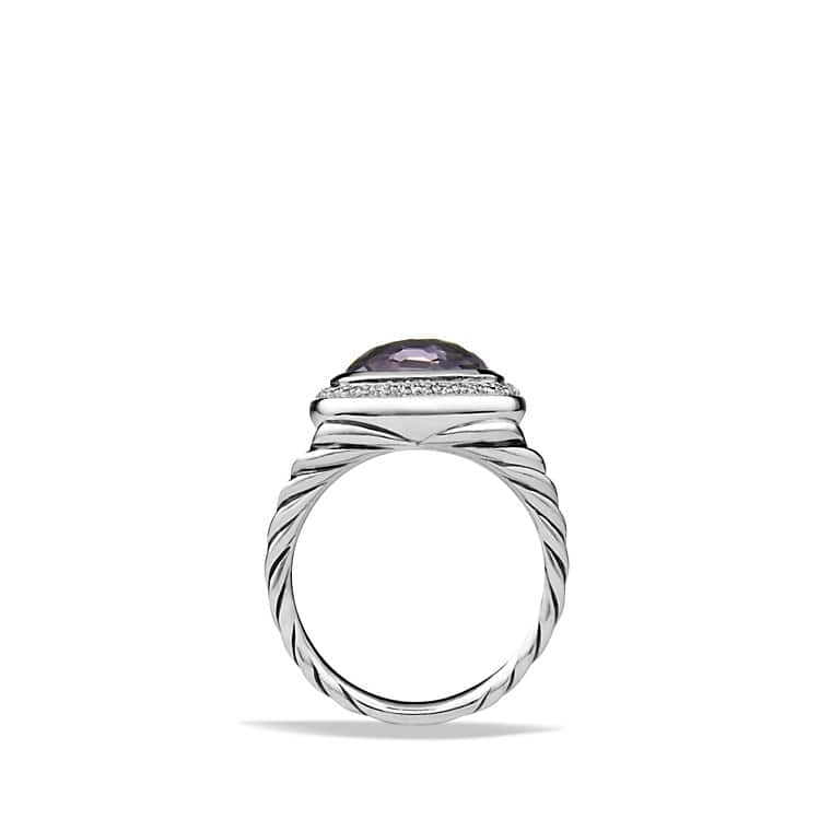 Albion® Ring with Black Orchid and Diamonds, 11mm