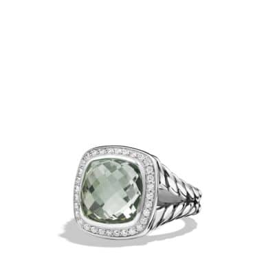 Albion® Ring with Prasiolite and Diamonds, 11mm