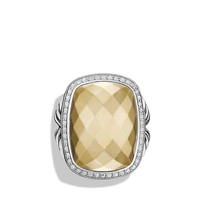 albion ring with diamonds and 18k gold 20 x15mm gemstone