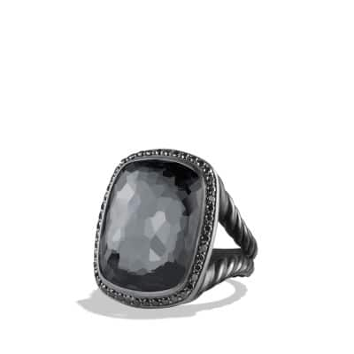 Ring with Gray Orchid and Black Diamonds