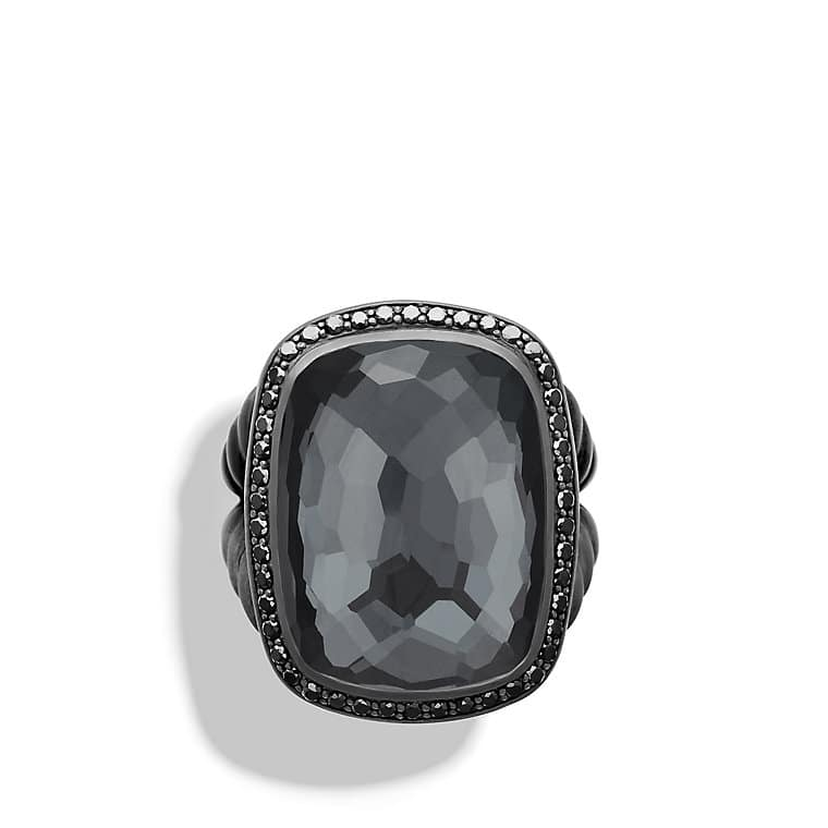 albion ring with gray orchid and black diamonds