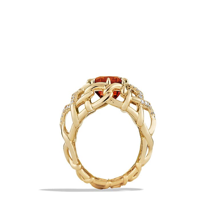 Venetian Quatrefoil Ring with Madeira Citrine and Diamonds in 18K Gold